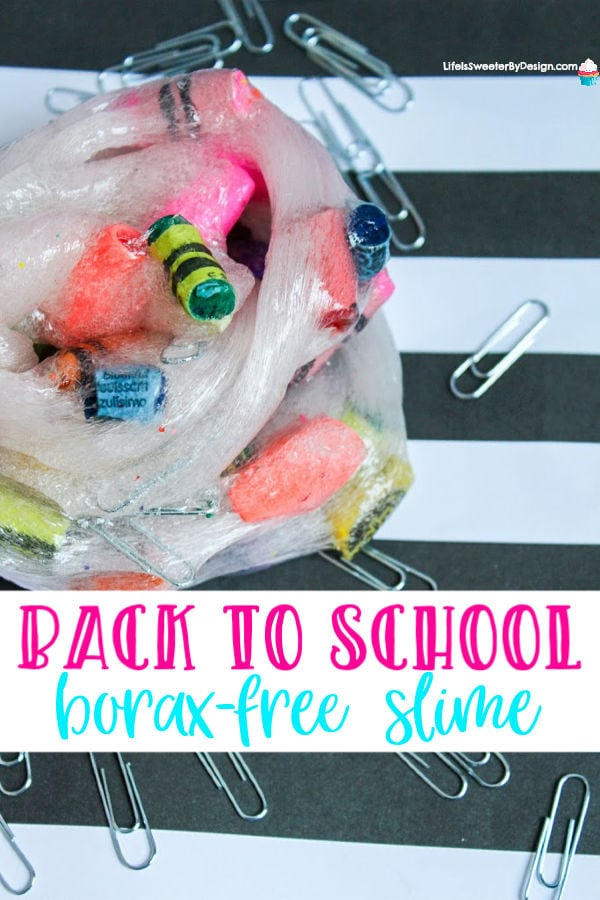 Do you love making borax free slime? Well this borax free slime for back to school is packed full of fun. School supply slime will be a huge hit with kids!