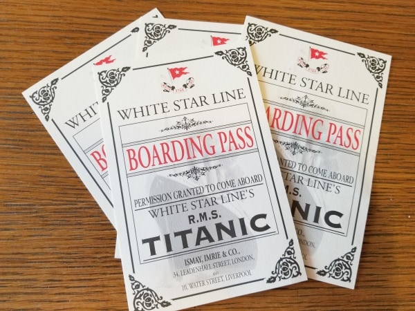 boarding passes for Titanic Museum