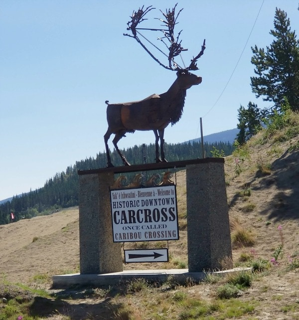 Carcross sign welcoming you to town