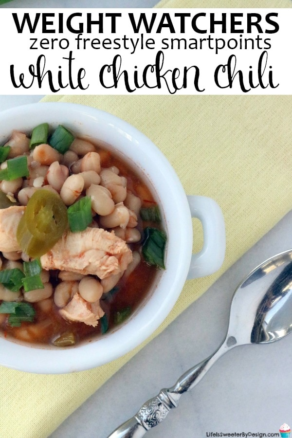 Weight Watchers White Chicken Chili is zero freestyle smartpoints and is very quick to make in the Instant Pot. This Weight Watchers Instant Pot recipe is perfect for cool weather. Weight Watchers soup recipes are filling and super healthy!