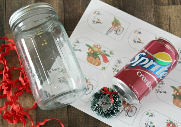 supplies for DIY Sprite Cranberry gift