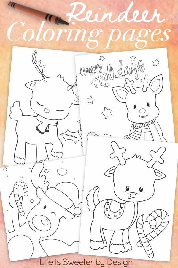 printable reindeer color page pack