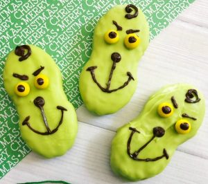 Grinch cookies made with Nutter Butter cookies