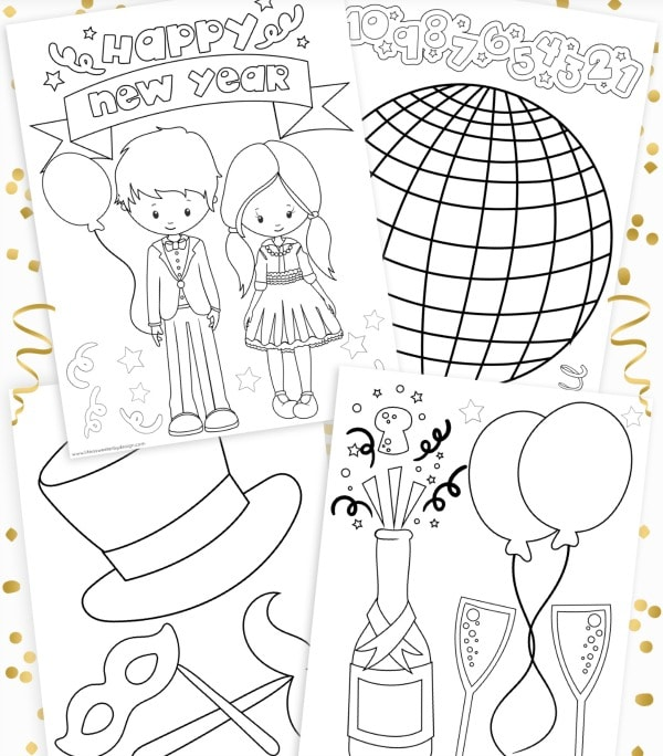 printable New Year's eve color pages