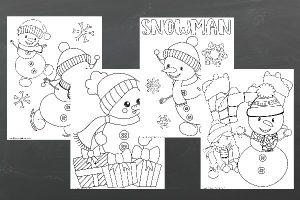 fun snowmen color sheets