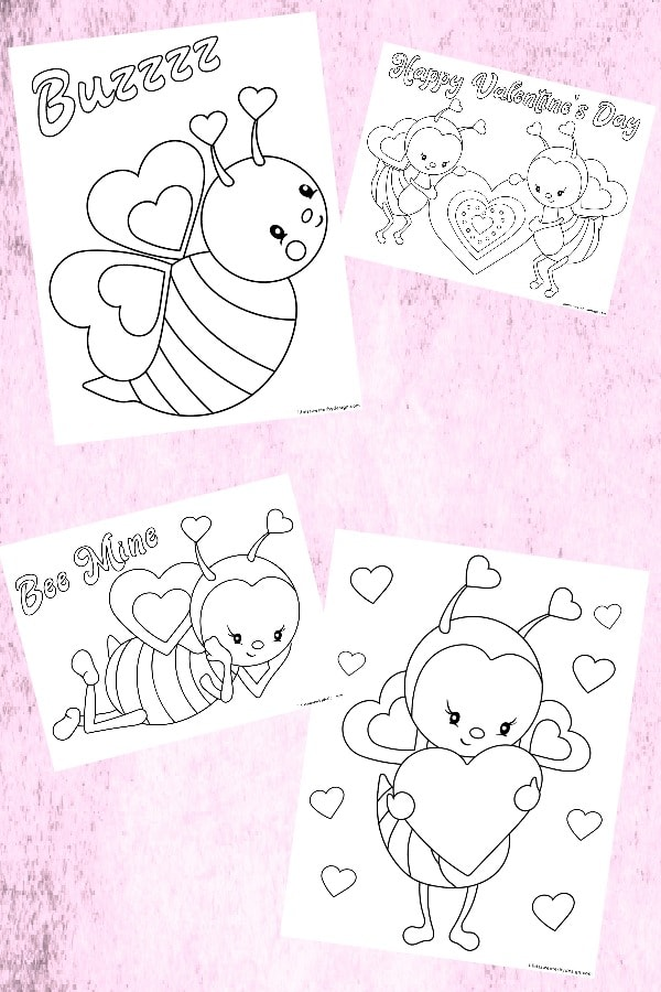 Bee Mine Valentine Day Color Pages