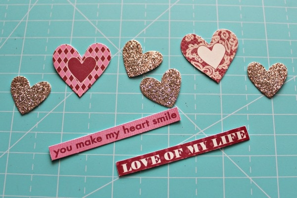 supplies needed for a Quick Valentine's Day Scrapbook layout