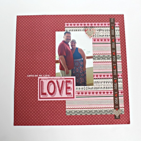 romance themed scrapbook layout