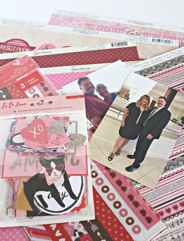 supplies for Valentine's Day Scrapbook Layout