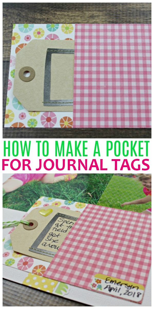 how to make a pocket for journal tags and a spring layout