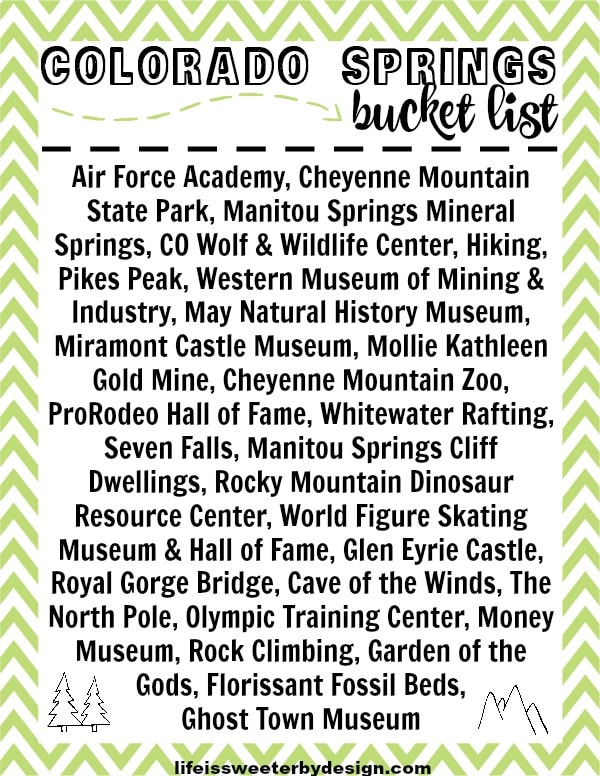 free printable Colorado Springs Bucket List