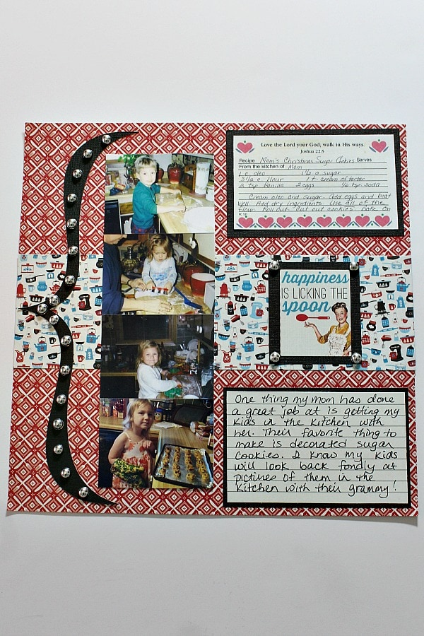 recipe card scrapbook layout