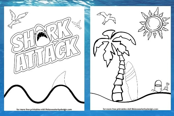 free printable shark color pages