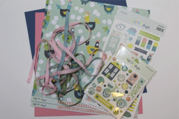 supplies for chicken scrapbook layout