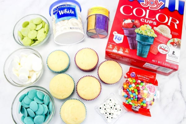 ingredients for easy peacock cupcakes