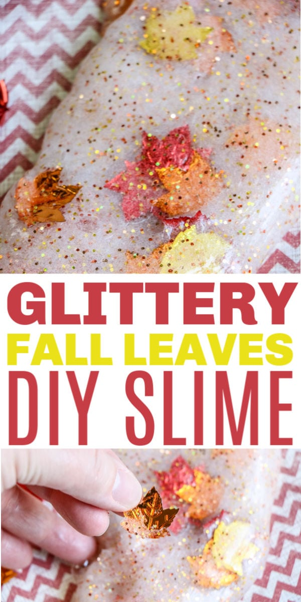 glittery fall slime with leaves
