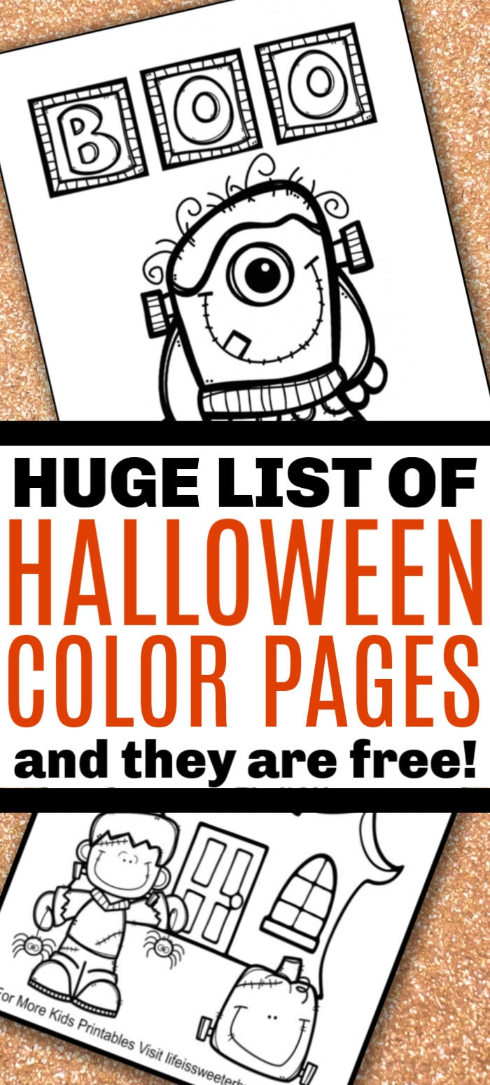 huge list of free printable Halloween coloring pages