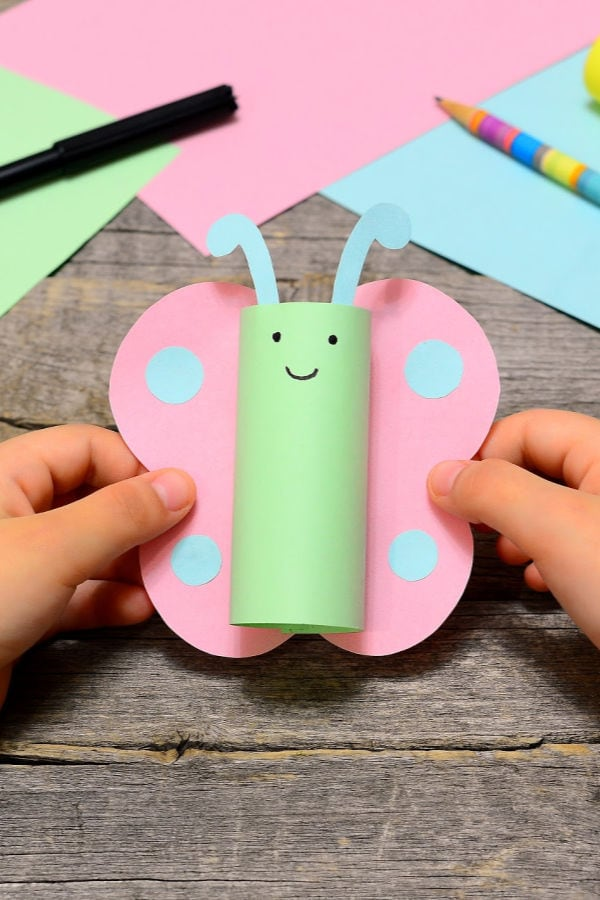 butterfly toilet paper craft for kids