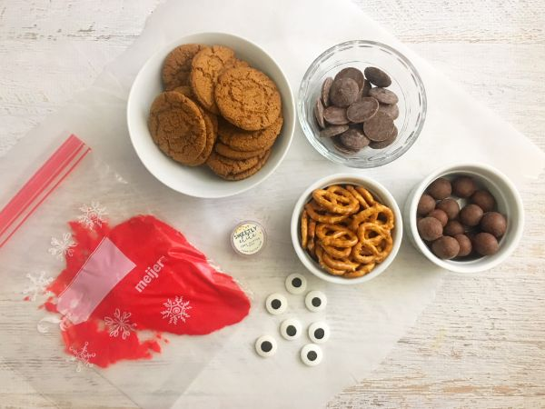 ingredients needed for Reindeer Gingersnap Cookies