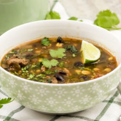 Weight Watchers Taco soup in light green bowl