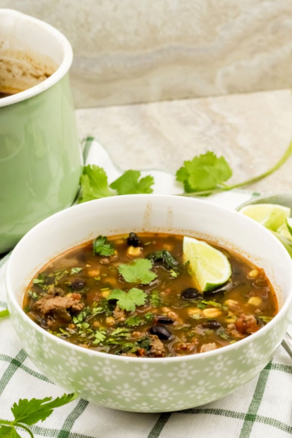 healthy ww taco soup in light green bowl