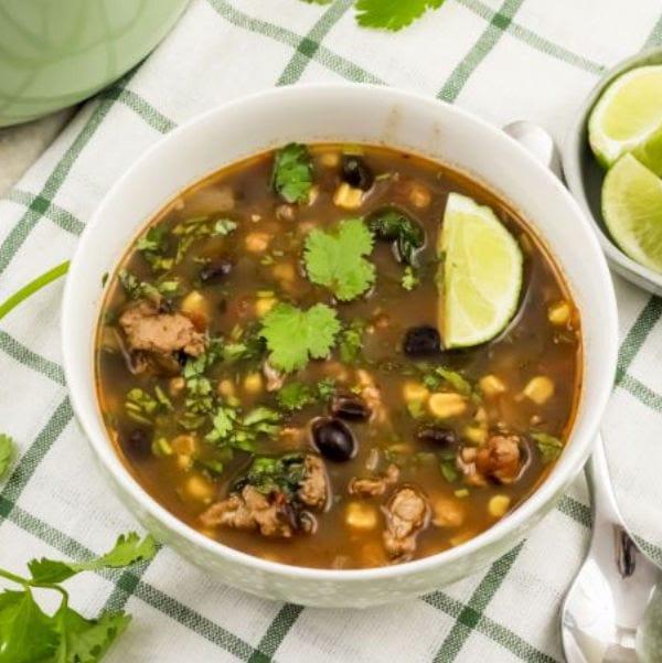 white bowl of taco soup