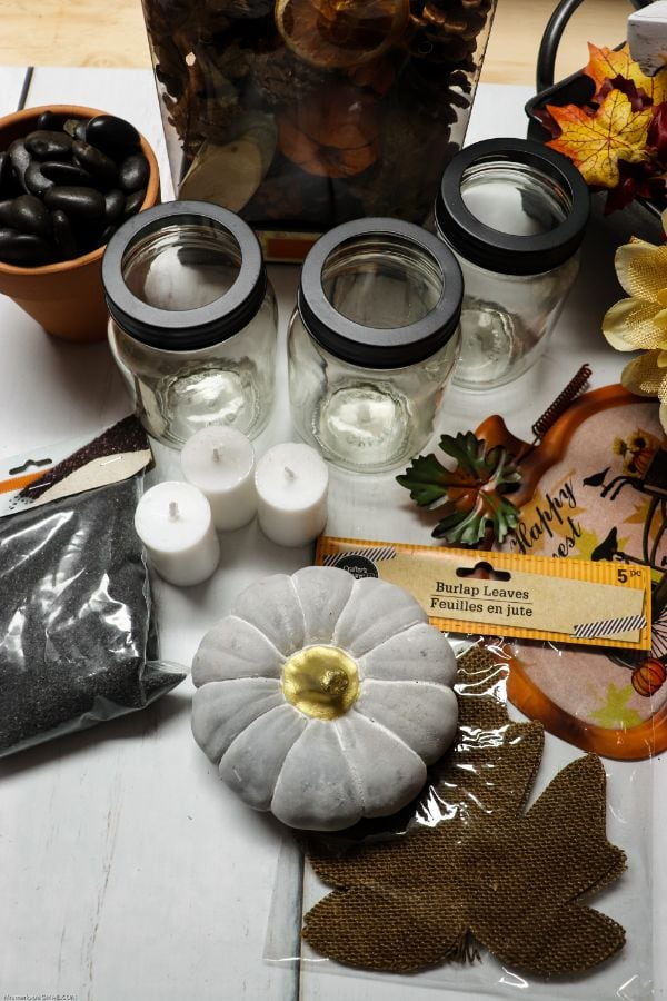 supplies for a fall centerpiece