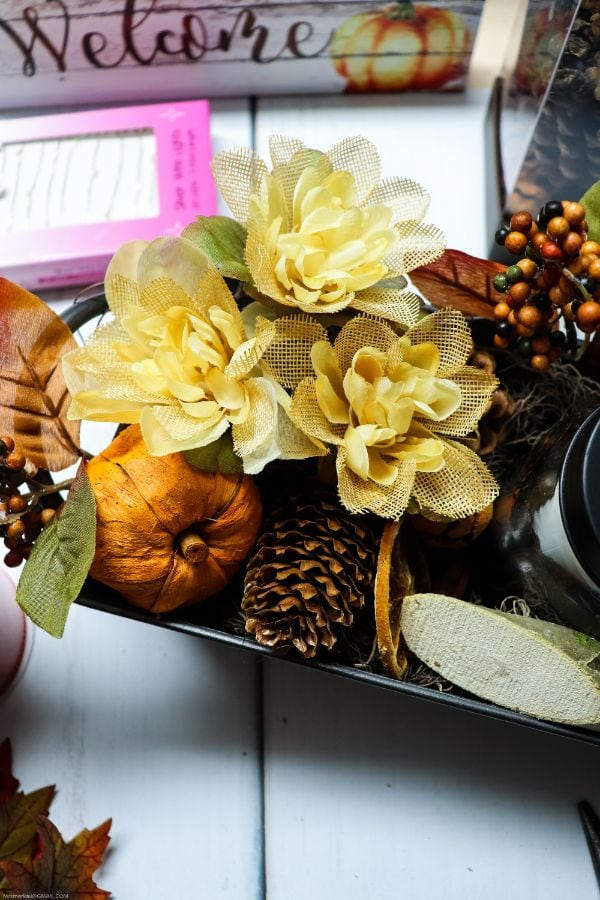 fall florals in a tray