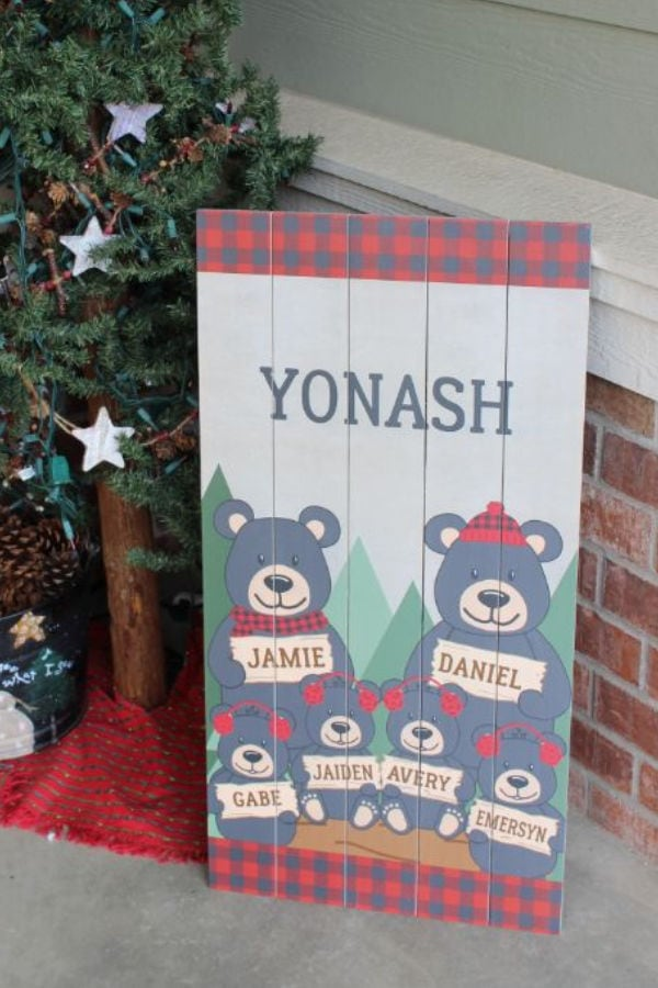personalized wood sign for Christmas