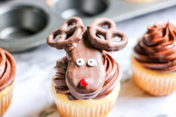 Reindeer Cupcakes made with Nutter Butter Cookies