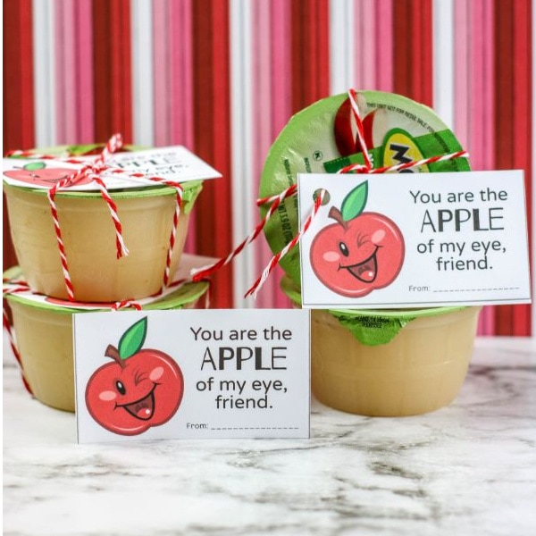Printable Apple of My Eye Valentines for applesauce for kids
