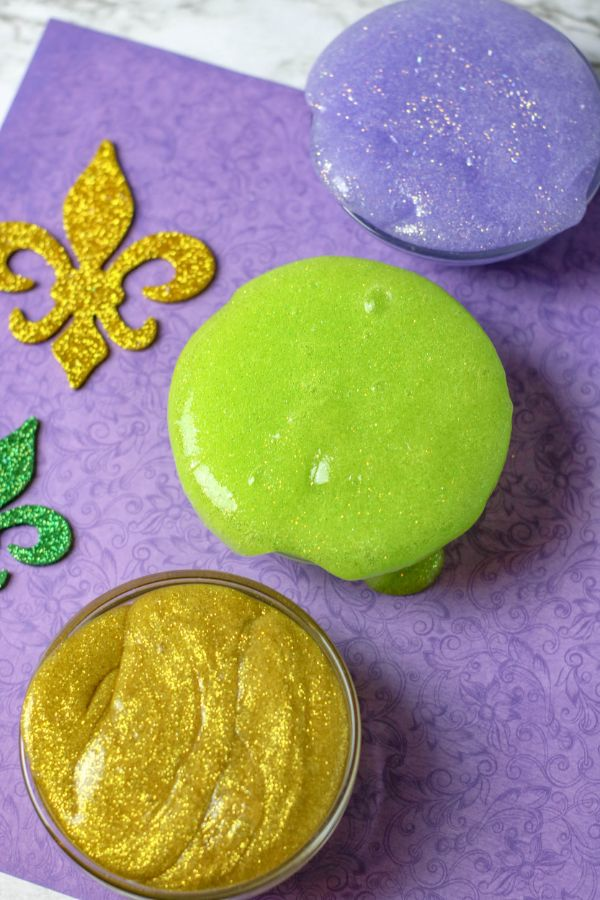Mardi Gras Slime for kids