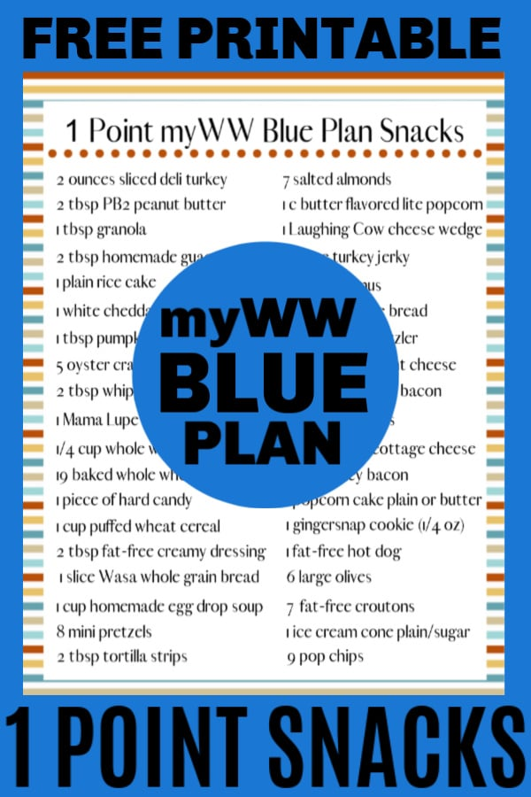 printable 1 point snack ideas for WW blue plan
