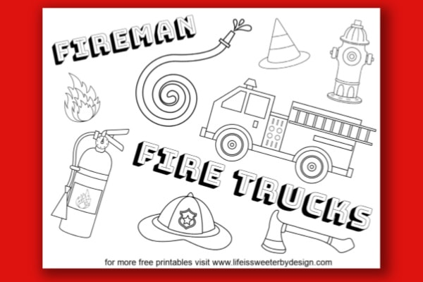 Fire Truck Coloring Pages - Life Is Sweeter By Design