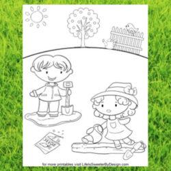 free printable gardening coloring page