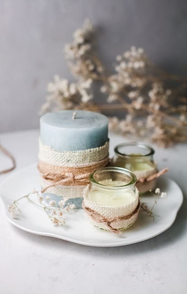decorating candles with burlap and twine