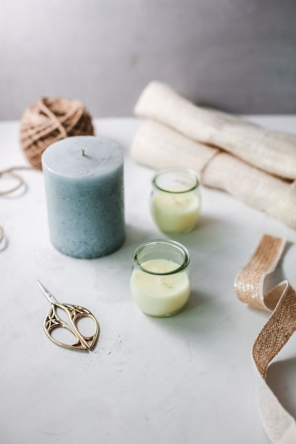 supplies for decorating candles with burlap
