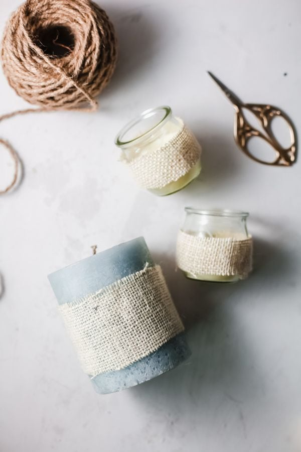 instructions for decorating candles with burlap