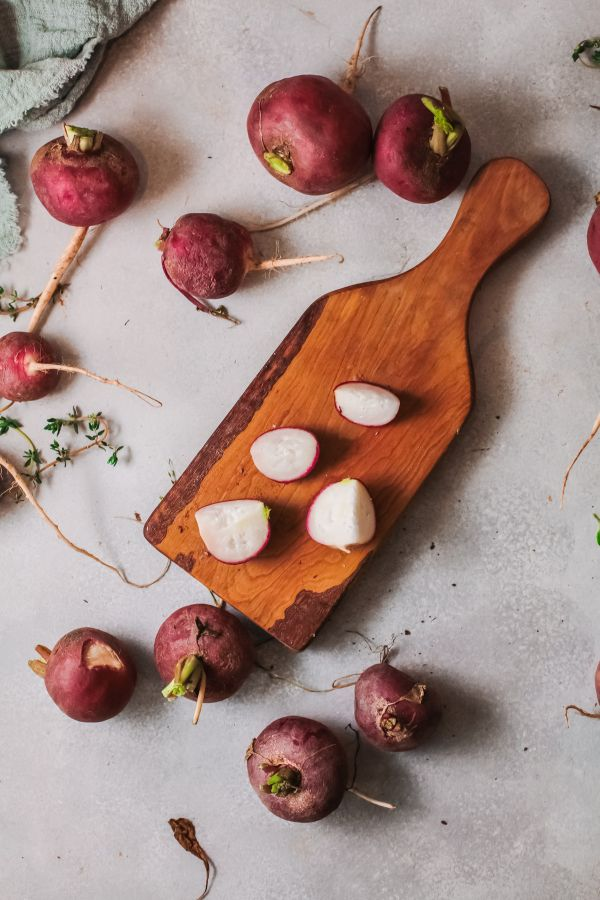 radishes cut up for cooking in the air fryer
