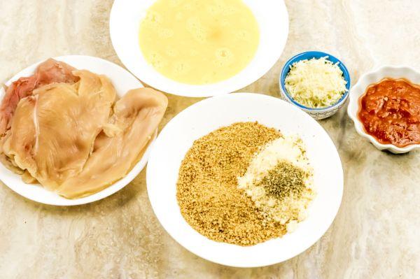 ingredients for easy air fryer chicken Parmesan
