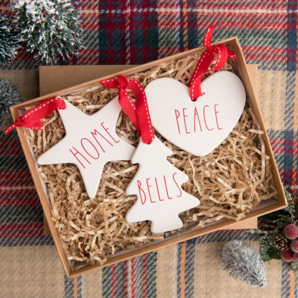 Easy DIY Rae Dunn Ornaments with Cricut