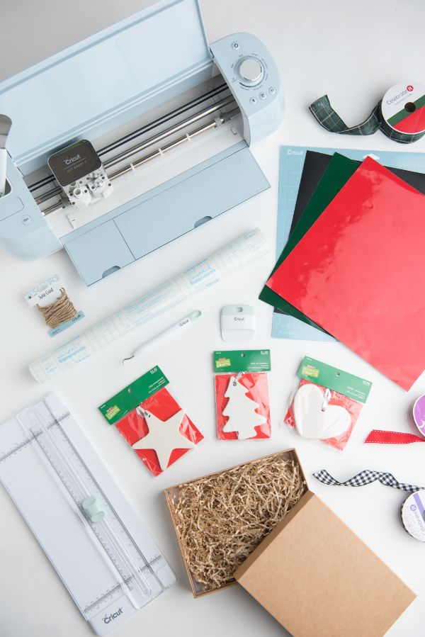 supplies used for Easy DIY Rae Dunn Ornaments with Cricut