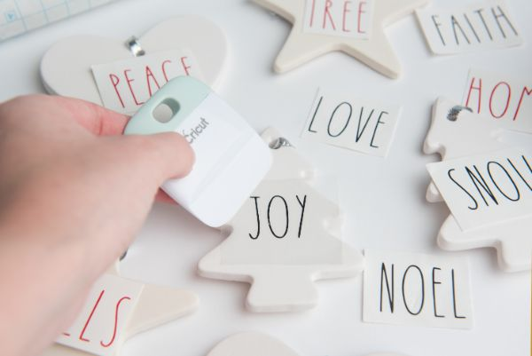 easy instructions for Easy DIY Rae Dunn Ornaments with Cricut