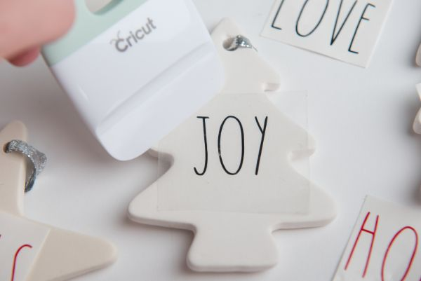 steps for making Easy DIY Rae Dunn Ornaments with Cricut
