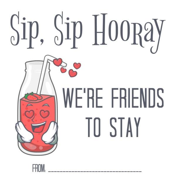 free printable Sip Sip Hooray Valentines
