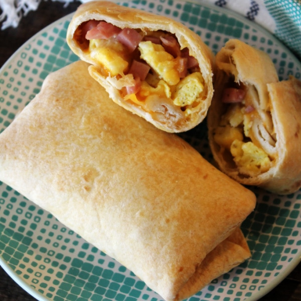 Air Fryer Breakfast Burritos on a plate