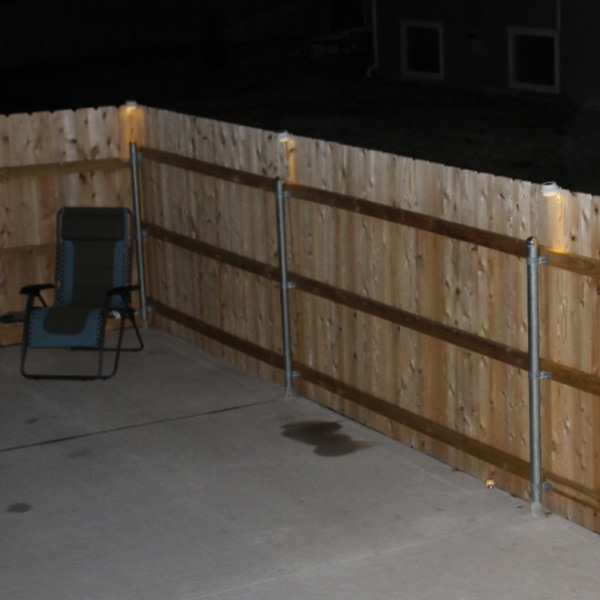 patio area with solar lights