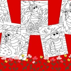 set of 5 spring ladybug coloring pages