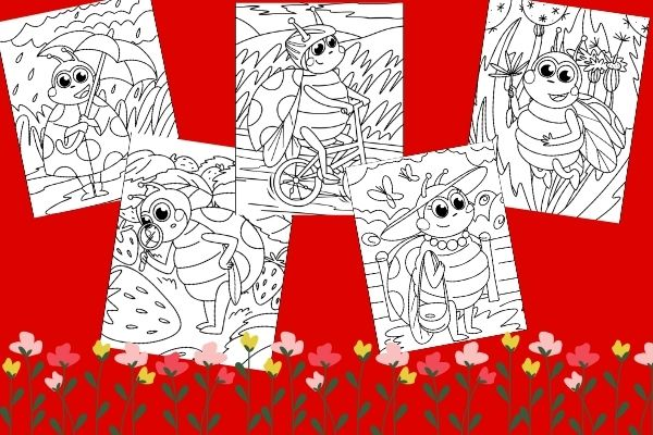 set of 5 spring lady bug coloring pages