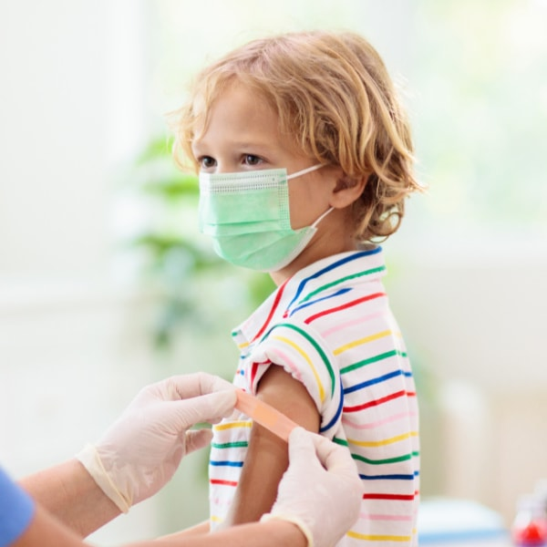 child after getting a shot